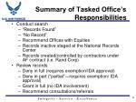 summary of tasked office s responsibilities