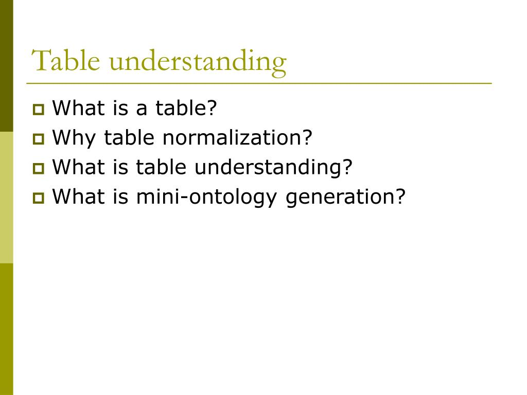 Table understanding