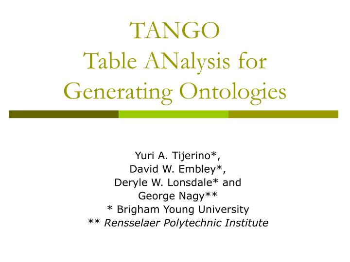 Tango table analysis for generating ontologies