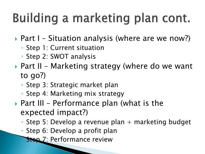 Building a marketing plan cont.