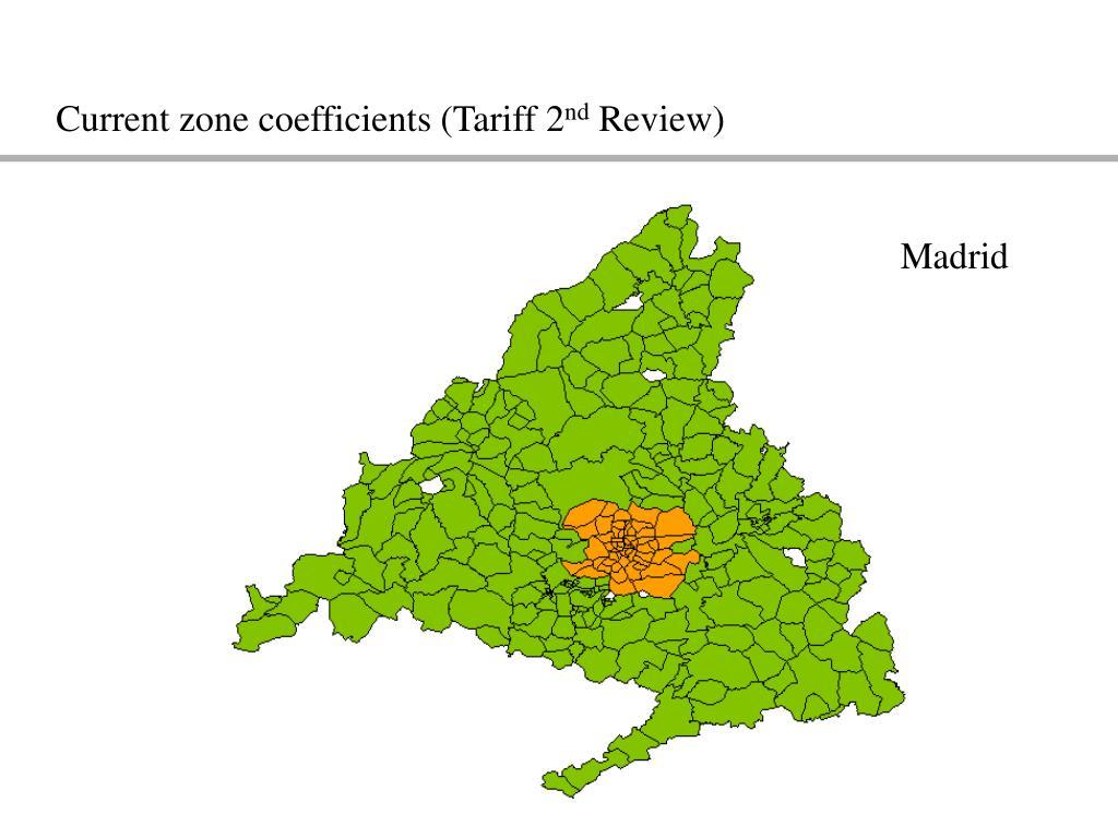 Current zone coefficients (Tariff 2