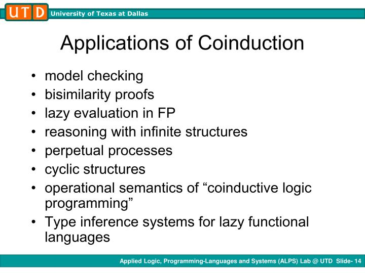 Applications of Coinduction