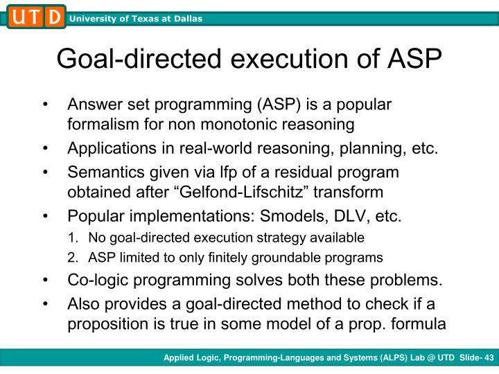 Goal-directed execution of ASP