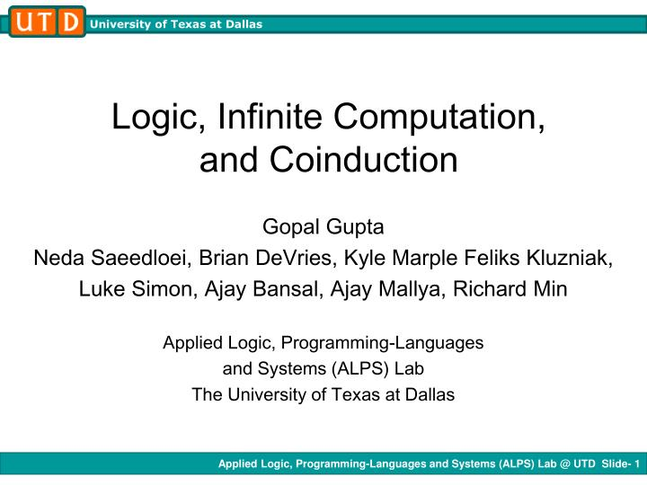 Logic infinite computation and coinduction