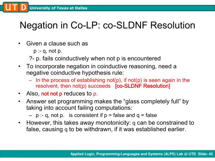 Negation in Co-LP: co-SLDNF Resolution