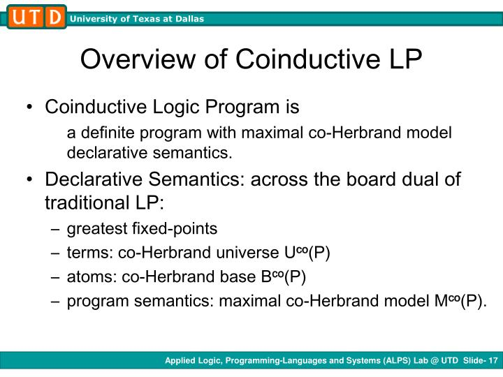 Overview of Coinductive LP