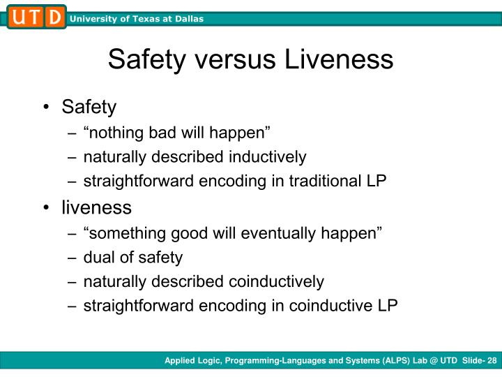 Safety versus Liveness