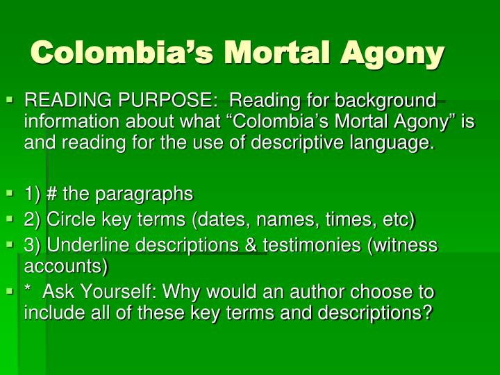 Colombia's Mortal Agony