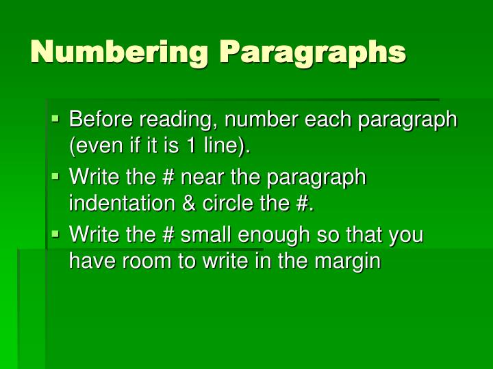 Numbering paragraphs