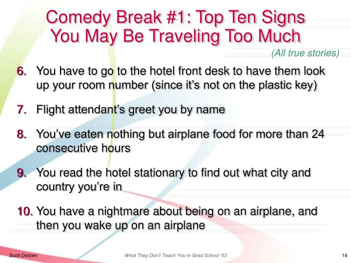 Comedy Break #1: Top Ten Signs
