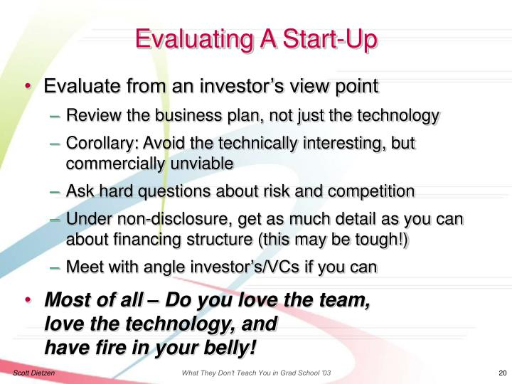 Evaluating A Start-Up