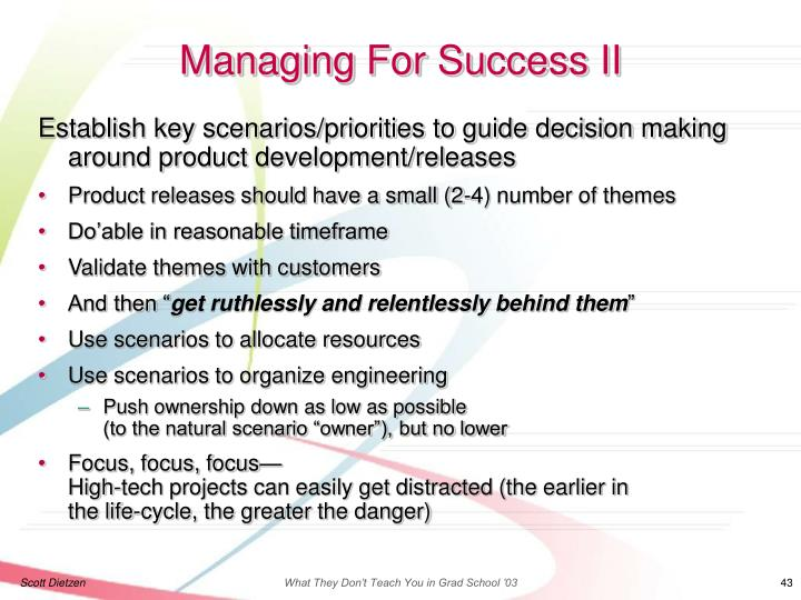 Managing For Success II