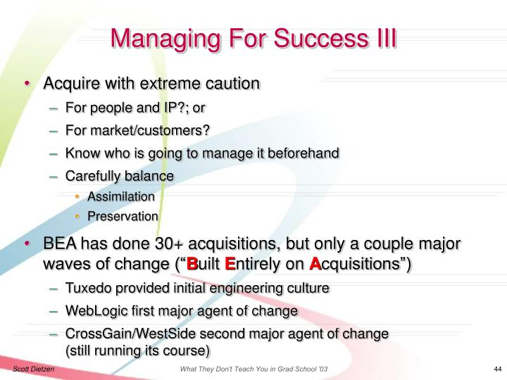 Managing For Success III