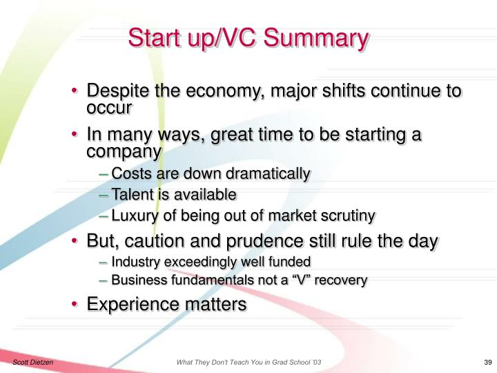 Start up/VC Summary