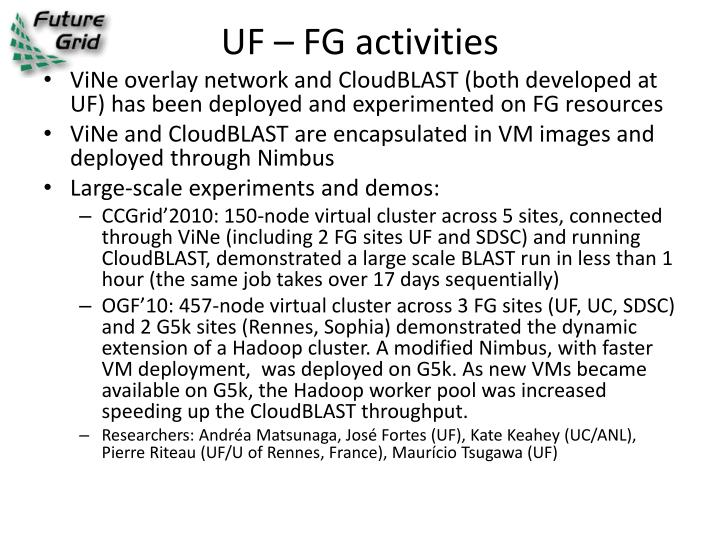 UF – FG activities