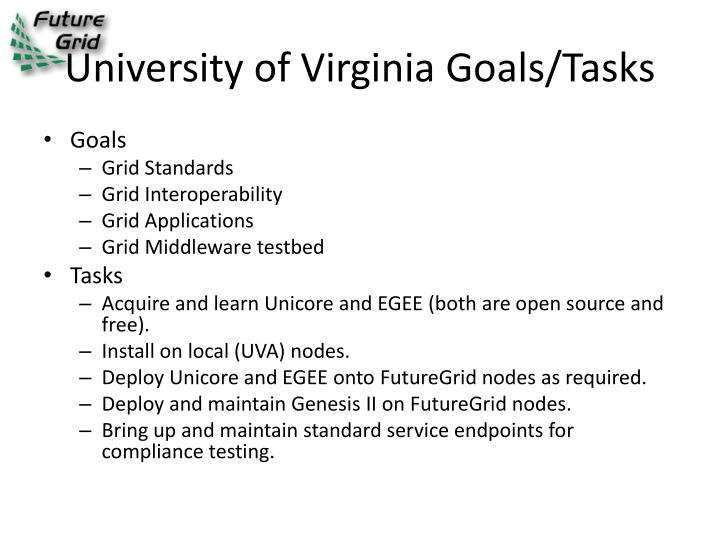 University of Virginia Goals/Tasks