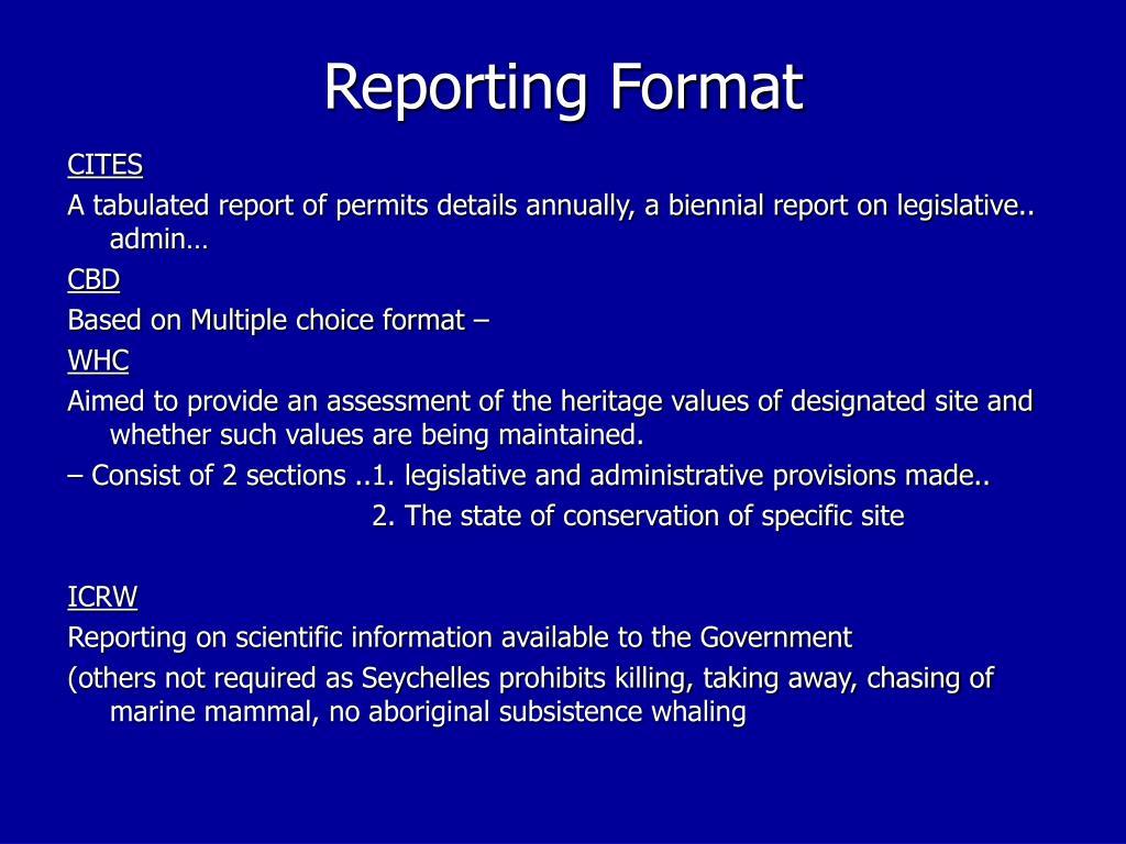 Reporting Format