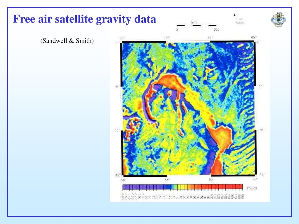Free air satellite gravity data