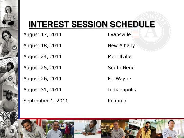 Interest session schedule