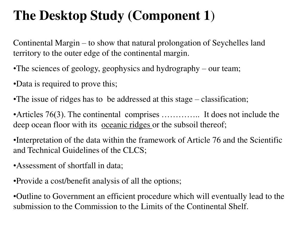 The Desktop Study (Component 1