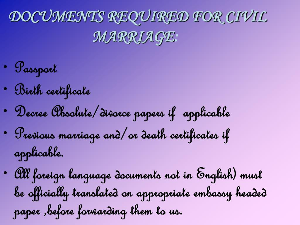 DOCUMENTS REQUIRED FOR CIVIL MARRIAGE