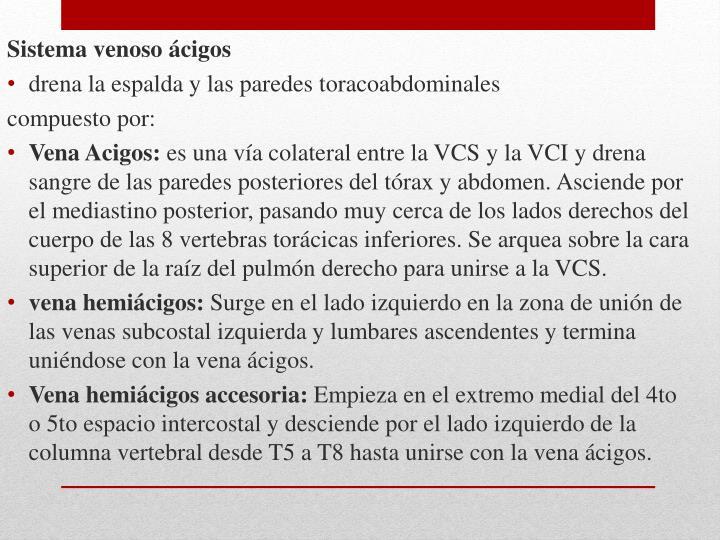 Sistema venoso ácigos