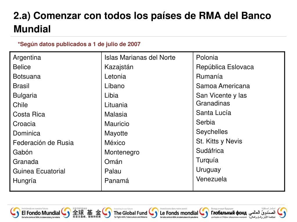 2.a) Comenzar con todos los países de RMA del Banco Mundial