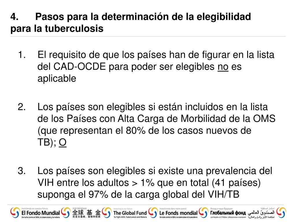 4.  Pasos para la determinación de la elegibilidad para la tuberculosis