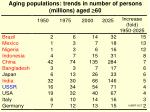 aging populations trends in number of persons millions aged 60