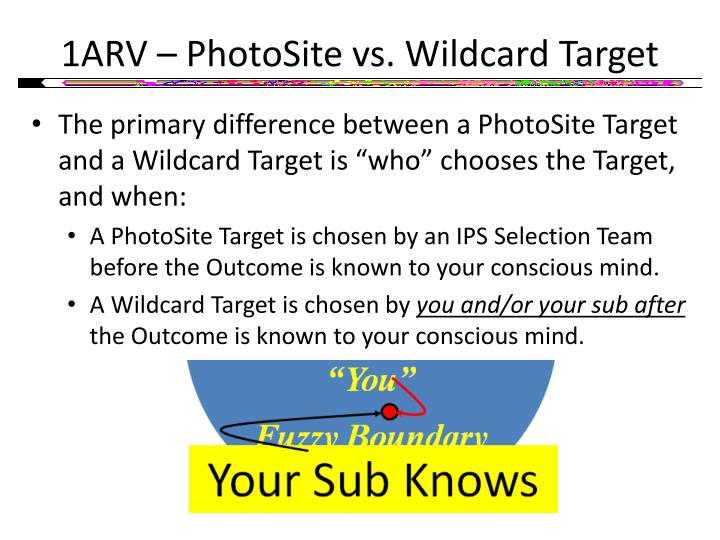 1ARV – PhotoSite vs. Wildcard Target