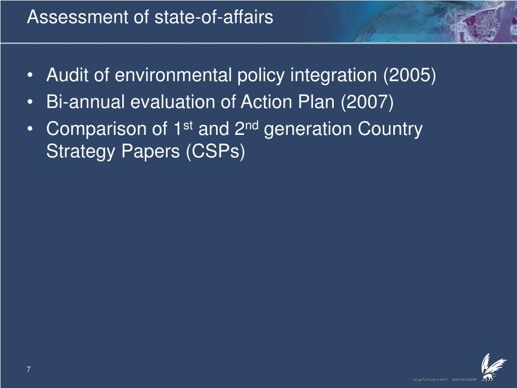 Assessment of state-of-affairs