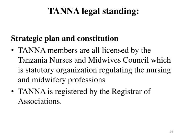 TANNA legal standing: