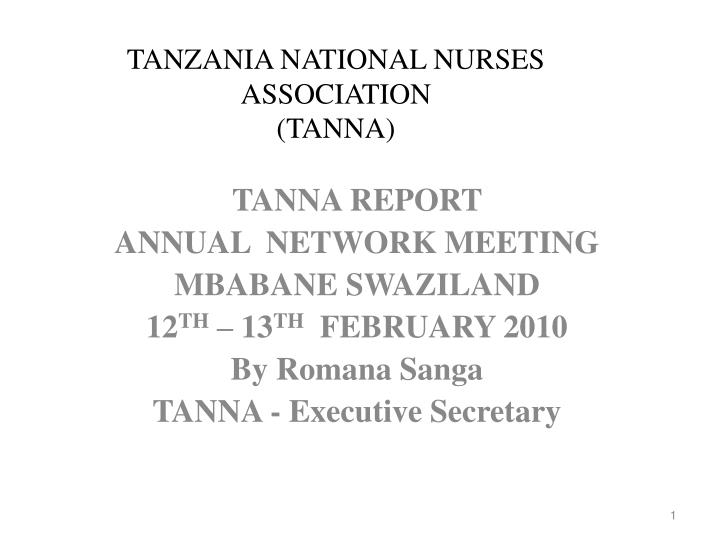 Tanzania national nurses association tanna