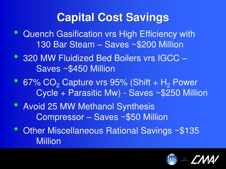 Capital Cost Savings