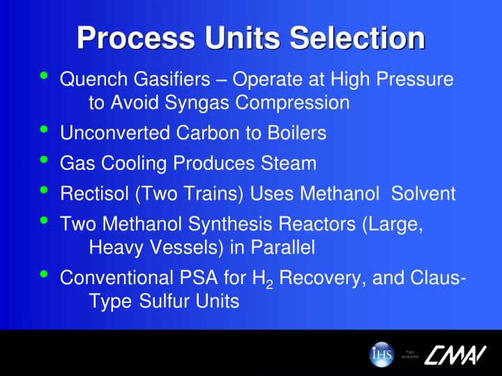 Process Units Selection
