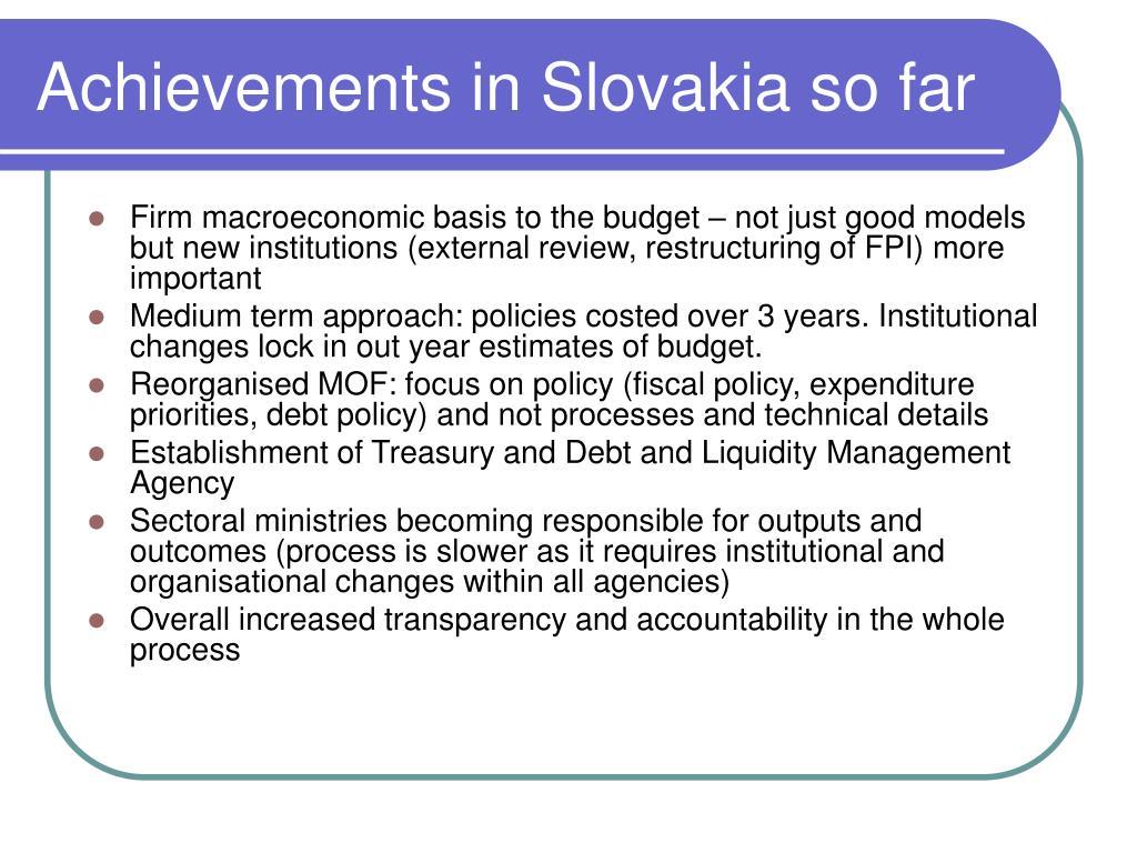 Achievements in Slovakia so far