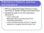 experience of reforms technical and institutional
