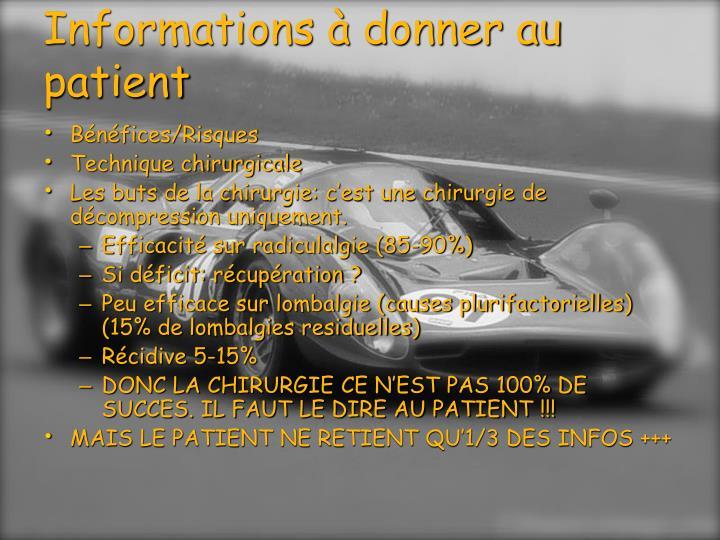 Informations à donner au patient