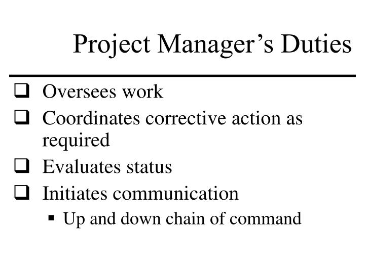 Project Manager's Duties