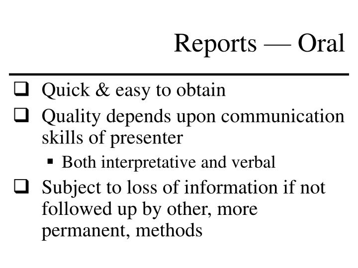 Reports — Oral