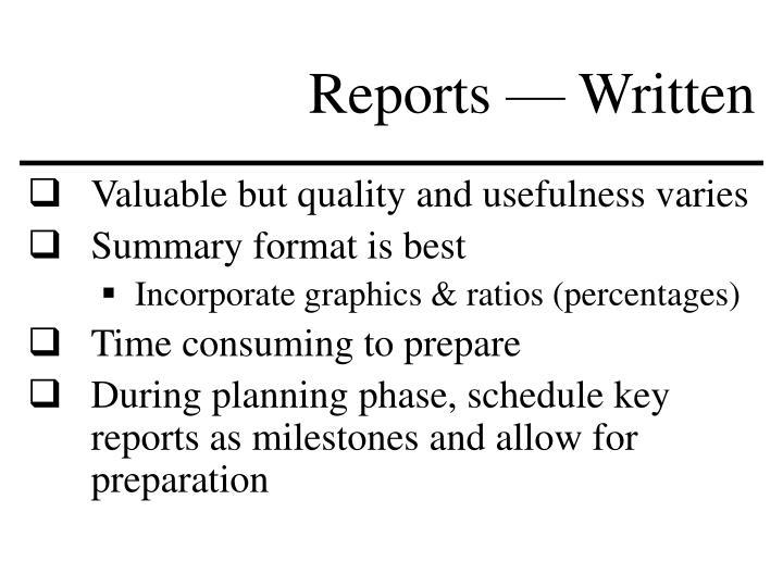 Reports — Written
