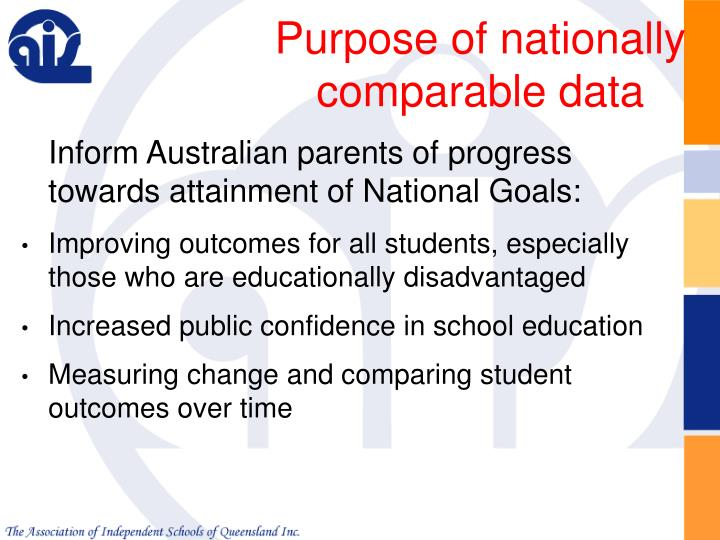 Purpose of nationally comparable data
