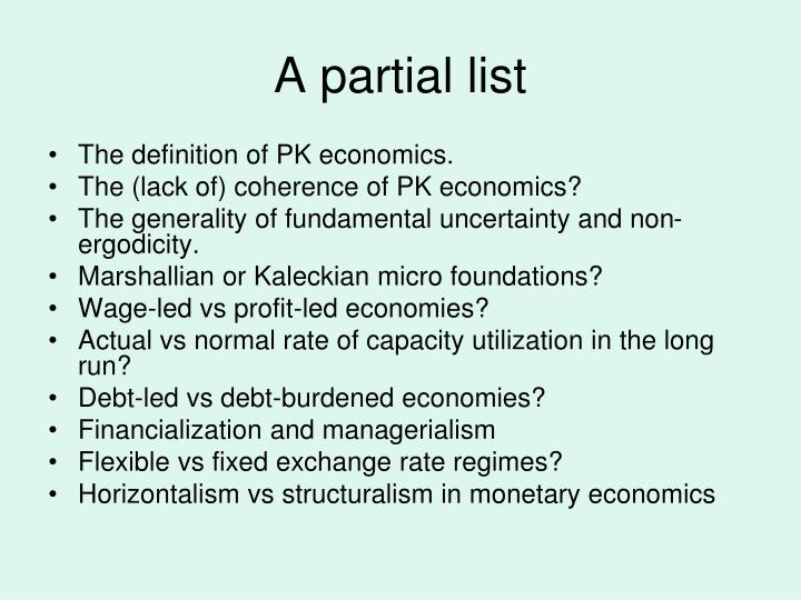A partial list