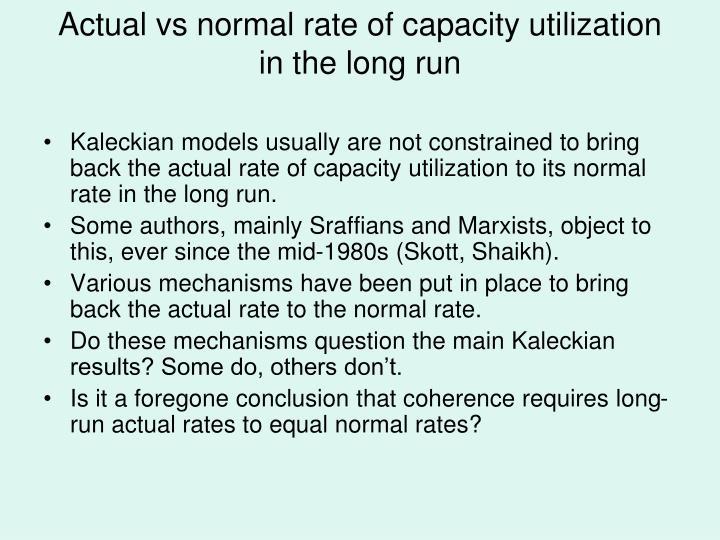 Actual vs normal rate of capacity utilization in the long run