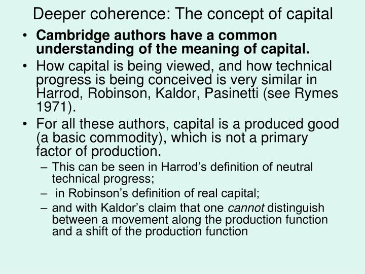 Deeper coherence: The concept of capital