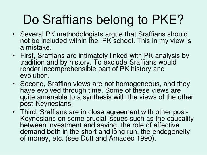 Do Sraffians belong to PKE?