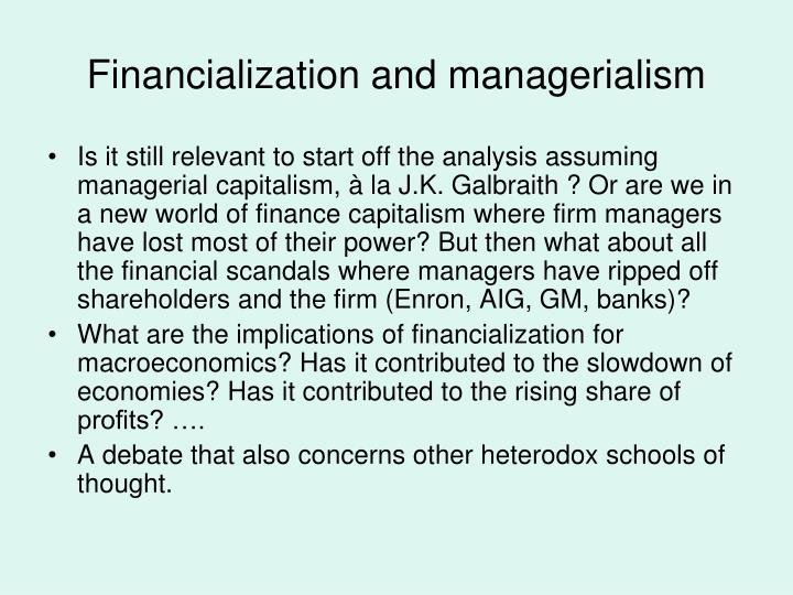 Financialization and managerialism
