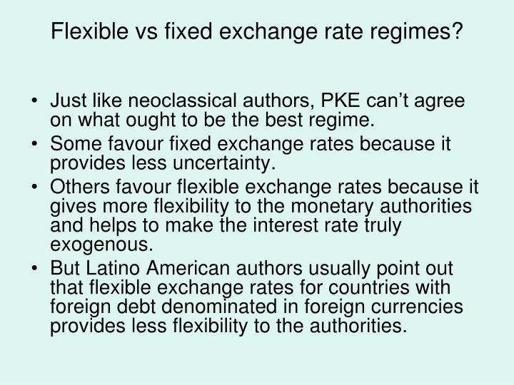 Flexible vs fixed exchange rate regimes?