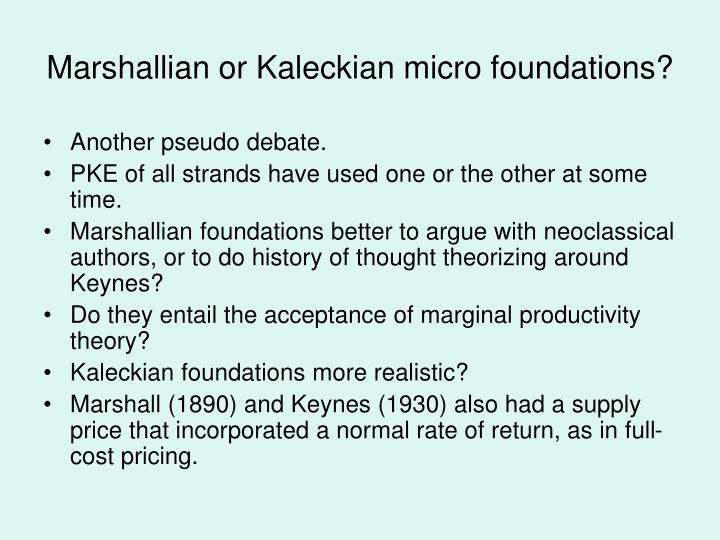 Marshallian or Kaleckian micro foundations?