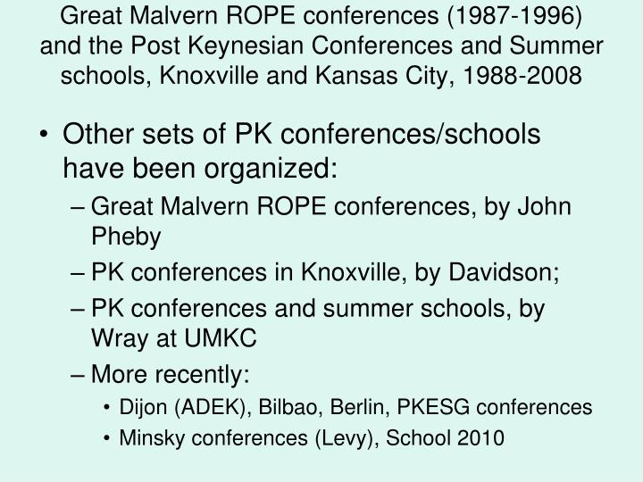 Great Malvern ROPE conferences (1987-1996) and the Post Keynesian Conferences and Summer schools, Knoxville and Kansas City, 1988-2008